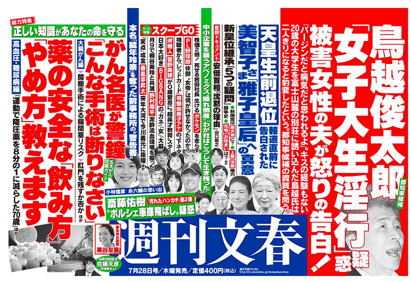鳥越俊太郎のスキャンダル、週刊文春